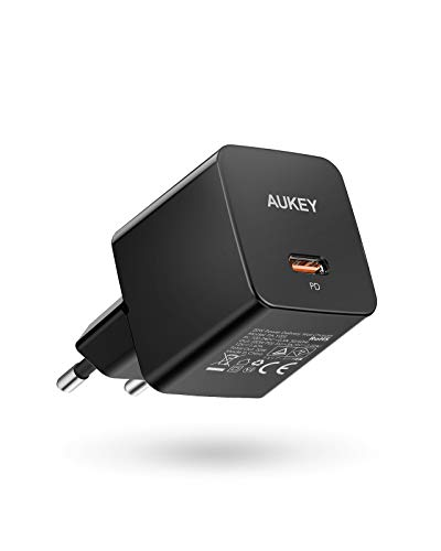 AUKEY Cargador 20 W PD USB C, Cargador AUKEY Minima 20W para iPhone 12, Cargador de Pared USB C para iPhone 12/12 Mini / 12 Pro MAX (Black)