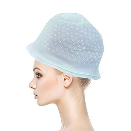 ANGGREK Silikon Highlight Cap Färbung Haarfarbe Kappe Highlighting Cap Friseursalon Styling-Tools mit Haken für Frauen Mädchen Färben von Haaren(Blau)