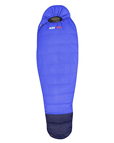 BlackWolf Hiker 500 Lightweight Compression Contoured Hood Anti-Bite Zippers Warm Sleeping Bag Blue