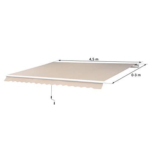 Outsunny® Markise Alu-Markise Aluminium-Gelenkarm-Markise ca. 4,5x3m creme - 5