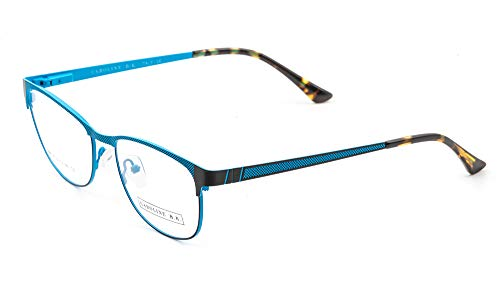 CAROLINE B.K. CBK130 montura de gafas sin graduar con lentes transparentes sin prescripción estilo CLÁSICO en METAL UNISEX (Azul Claro)