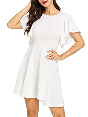 Romwe Women's Stretchy A Line Swing Flared Skater Cocktail Party Dress White L