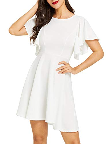 Romwe Women's Stretchy A Line Swing Flared Skater Cocktail Party Dress White M