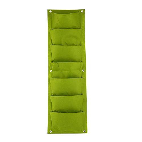 96 * 30cm Green Vertical Garden Planter Wall-Mounted Planting Flower Grow Bag 7 Pocket Vegetable Living Garden Bag Home Supplies