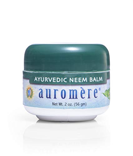 Auromere Ayurvedic Neem Balm - All Natural Rosacea, Eczema And Psoriasis Cream for Face and Body - Contains 34% Neem Oil for Skin - Soothes Dry, Itchy or Sensitive Skin and Reduce Redness - 2oz