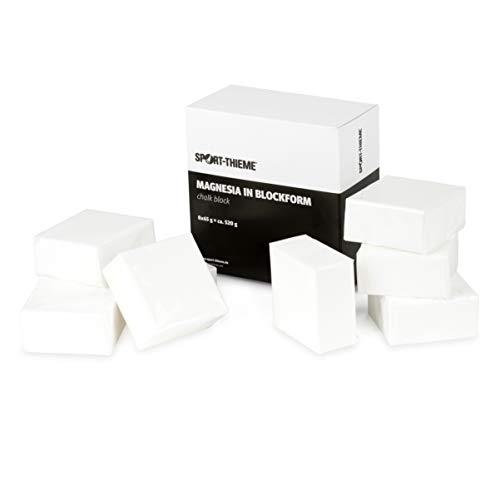 Sport-Thieme Magnesia in Blockform | 520 g Sparset mit 8 Ziegel je 65 g | 100% Magnesiumcarbonat | Ideal für Klettern, Krafttraining, Turnen, Leichtathletik | Markenqualität