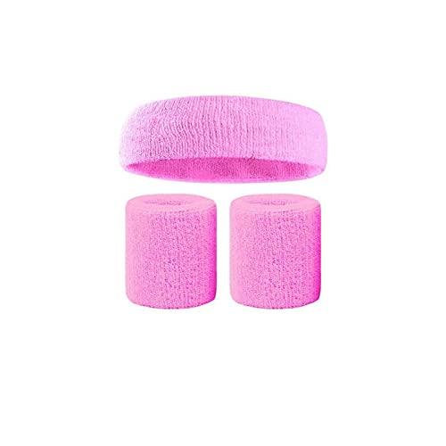 Wzdszuiltd Cinta Pelo Deporte Sweatband Set Sports Hair Band Diadema Muñeca Apoyo Apoyo Pulsera Tenis Yoga Suda Absorbe Toalla Bandeau Bádminton (Color : Pink)