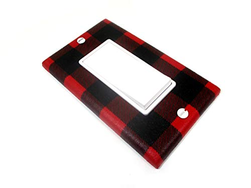 Red and Black Buffalo Plaid Decora Rocker Light Switch Cover Plate