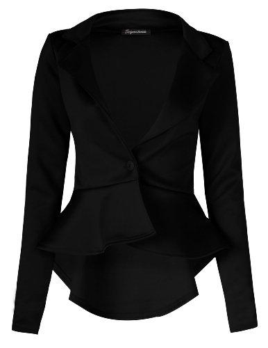 Fast Fashion Damen Mit Langen Ärmeln Rüschen Verschieben Ausgestattet Unteren Rücken Peplum Blazer (40/42, Black)