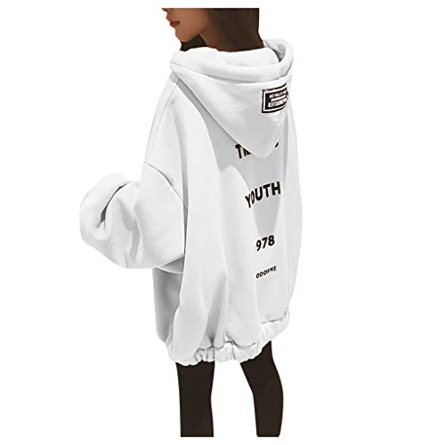Lazzboy Kapuzenpullover Frauen Lose Large Zipper Letter Print Verdickung Sweater Damen Lange Ärmel Hoodie Pullover Frauen Mantel Jacke Lang Kapuzenpullis Pulli(Weiß,4XL)