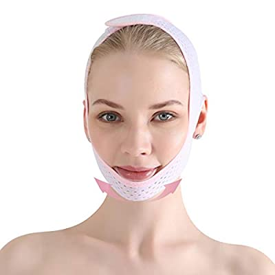 Face Slimming Strap, Double Chin Reducer, Reusable Breathable V Line Lifting Chin Strap Ultra-thin Sleeping Face Neck Slimming Band for Eliminates Sagging Skin (SL03) from Solati