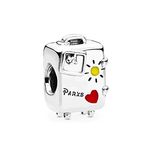 Plata De Ley 925 Colgante De Cuentas De Ratón Modo Vacante Maleta Encanto Moda Mujer Pandora Pulsera Brazalete Diy Joyería Regalo De Cumpleaños