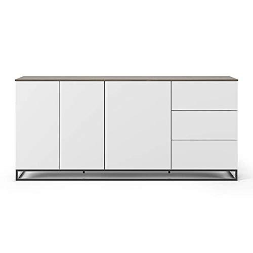 Buffets Design et élégants, Collection Join, signée TEMAHOME. - Join 200H1, piétement Acier Noir, Blanc Mat, Plateau en Noyer
