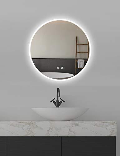 ApeJoy Espejo de baño LED redondo 60 cm antivaho con iluminación blanca fría con sensor táctil Clase de eficiencia energética A + AJ01s