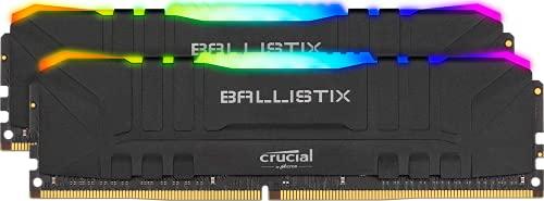 Crucial Ballistix BL2K16G36C16U4BL RGB, 3600 MHz, DDR4, DRAM, Memoria Gamer para Ordenadores de sobremesa, 32GB (16GBx2), CL16, Negro