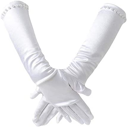 2 Pair Little Girls Long Princess Costume Gloves Creatiee White Dress Up Beading Bows Gloves product image