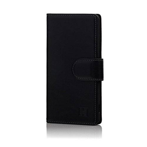 32nd Premium Series - Leder Mappen Hülle Hülle Flip Cover für Sony Xperia M4 Aqua, Entwurf gemacht Mit Kartensteckplatz, Magnetverschluss & Standfuß - Schwarz
