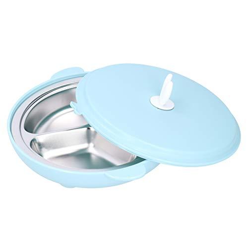 Fockety Bols pour bébé, Assiettes pour Tout-Petits en Acier Inoxydable 304, Isolation étanche réutilisable à 3 Compartiments pour Enfants Adultes(Blue)