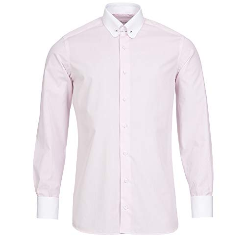 Schaeffer Hemd Regular Cut rosa Streifen Piccadilly Kragen/Pin Collar weiß, Größe: M