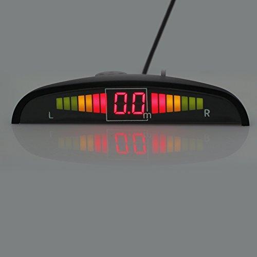 Retroceso Trasero Radar Aparcamiento Sensor Sistema DC 12V 4 Sensores Kit Audio Zumbador Alarma Pantalla LED, Cocar Coche Aparcamiento Kit con 4 Estacionamiento Sensores (Negro)