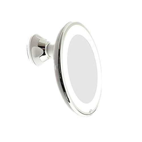 Kosmetikspiegel Flexible (7X und 10X) Vergrößerungs LED beleuchtetem Spiegel beleuchtet, Badmöbel Spiegel mit starkem Saugnapf, 360 Grad-Schwenker, Kompakt-Spiegel (weiß) Kosmetikspiegel Lichter porta