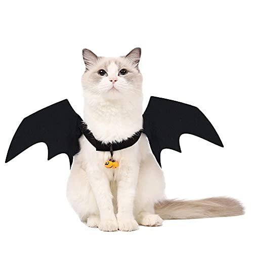 Yoommd Disfraz de Halloween para perro, gato, alas de murcilago con forma de calabaza, disfraz de Halloween con alas de murcilago con cinta de velcro (S)