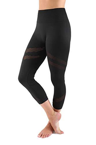 Aekonami AEKO Mesh Compression Workout Pants New 2019 Moisture Wicking Fitness Leggings for Women (S - USA 2-4, Black - 25N)