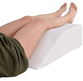 Leg Elevation Pillow with Memory Foam Top - Elevating Leg Rest to Reduce Swelling Back Pain Hip and Knee Pain - Ideal for Sleeping Reading Relaxing- Breathable and Washable Cover- 8in Height Wedge
