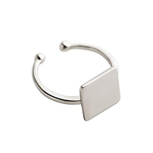 JDWD S925 Sterling Silber Ring Mädchen Einfache Offene Mode Silber Hand Ornament Plain Square Silber Ring für Damen Ring