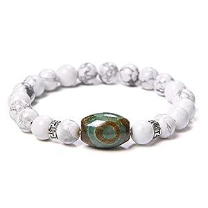Armband Grün Gzi Dzi Perlen Armbänder Männer Vintage Nine Eye Tibetan Agat Armband Stretch Schmuck Frauen Poliert Howlite Cz Charm Pulsera