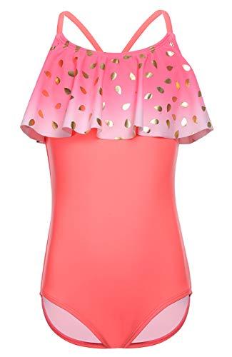 DUSISHIDAN Bademode KinderMädchen Einteiliger Sommer Bikini Rosa Badeanzug Rüschen(mit Rock) M