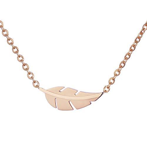 Morella Damen Halskette Symbol Blatt Anhänger Edelstahl Rosegold im Samtbeutel