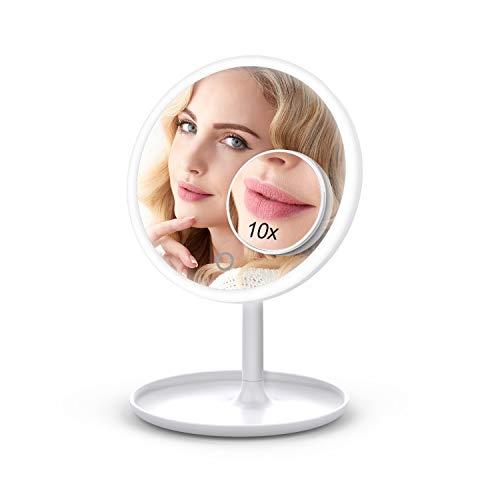 VOXON Kosmetikspiegel LED Beleuchtet mit 1X/10X Vergrößerung, Wiederaufladbar Makeup Spiegel mit Blendfreier Beleuchtung und Stufenloses Dimmen für Zuhause und Unterwegs