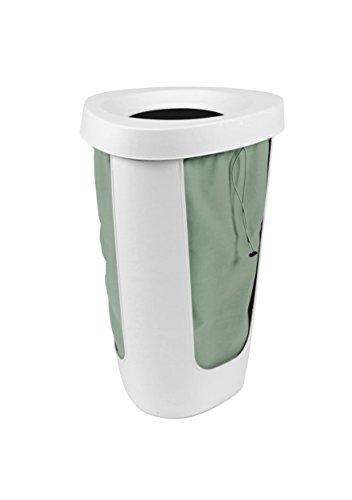 Rotho Fabu Wäschesammler, Kunststoff mit herausnehmbarem Wäschesack, weiß/grün, 50 Liter (40,8 x 40 x 62,1 cm)