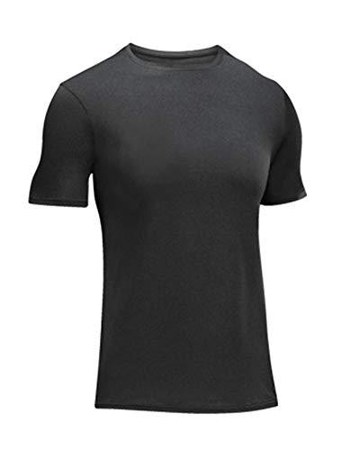 Herren Tech Kurzarm T-Shirt Kurzarmshirt Outdoor-Basketball-Trainingsstretch Für Schnell Trocknende Fitnesskleidung Rauchfarben XL