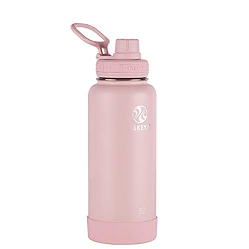 Takeya Actives Insulated Stainless Steel Water Bottle with Spout Lid, 32 oz, Blush