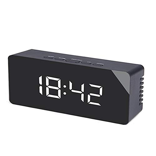 Reloj Despertador con Espejo Creativo multifunción Reloj Despertador de Estilo Simple Multifuncional práctico Duradero (luz Blanca Negra)