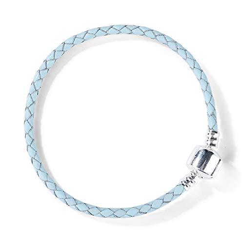 GNOCE Damen Armband Leder geflochten Lederarmband geflochten mit Verschluss Geschenk für Herren Mädchen Kinder (Blau, 20)