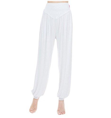 MESHIKAIER Super Doux Sarouel Pantalon Femme en Modal Pantalon Yoga Pantalon Harem Pantalon Bouffant pour Sport Jogging DanseÉlastique et Extensible (Taille L, Blanc)