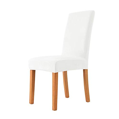 MILARAN Velvet Chair Covers for Dining Room, Soft Stretch Seat Slipcover, Washable Removable Parsons Chair Protector, Set of 4, White