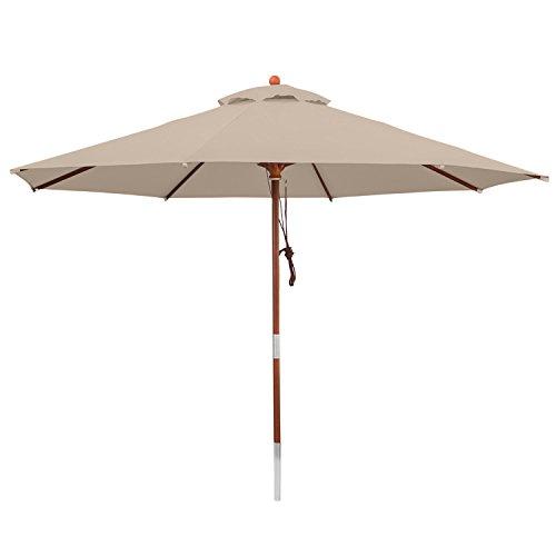 anndora® Sonnenschirm Gartenschirm 3 m rund wasserabweisend - mit Winddach Dark Natural