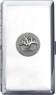 120mm 'Celtic Tree of Life' Silver Chrome Cigarette Case with Mirror (Gift Box Edition)