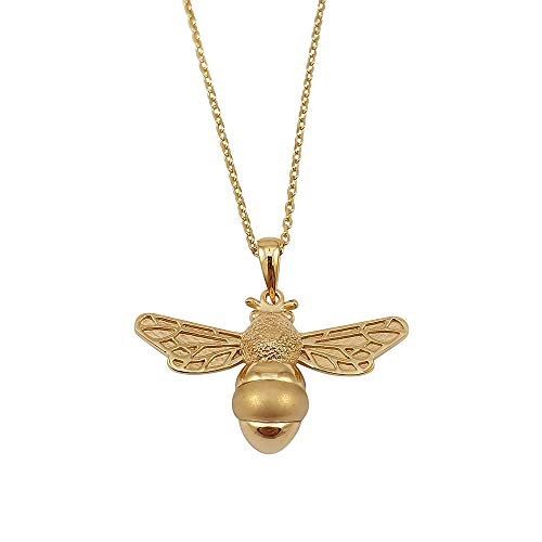 Kiara Jewellery 925 Sterling Silver Yellow Gold Plated Bumble Bee Pendant Necklace on matching 18' Sterling Silver Trace Or Curb Chain.