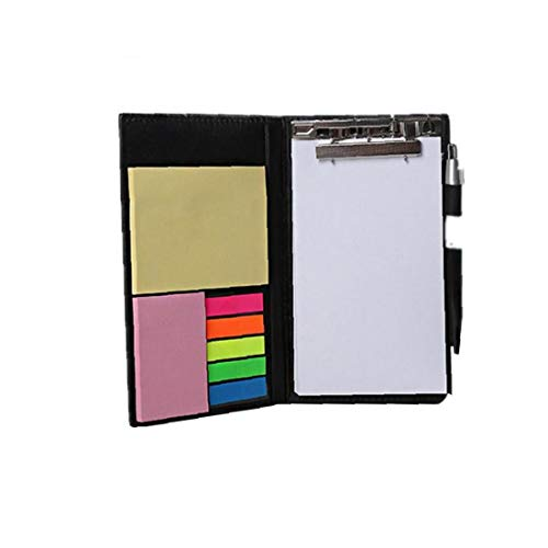 Sticky Notes Notebooks Colored Page Markers Bundle Set Rectangular Notes and Index Tabs Flags Organizer with Fashion Ballpoint Pen Leather Look Design Holder