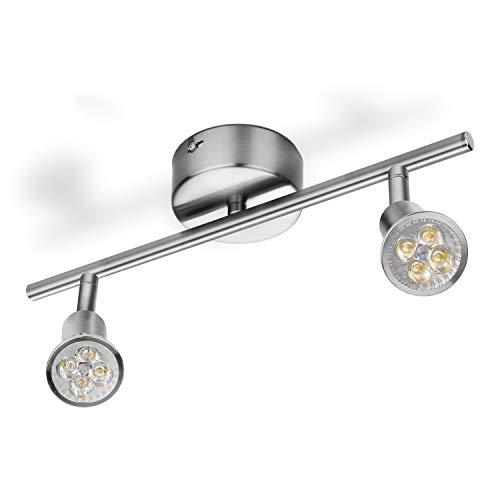 LED Deckenleuchte Schwenkbar Deckenlampe 230V Deckenstrahler inkl. 2x 4 W Warmweiß GU10 Deckenspot 2 flammig Leuchten, 35.5 x 17 x 9 cm