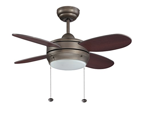 Litex E-MLV36ESP4LK1 Maksim Collection 36-Inch Ceiling Fan with Four Dark Walnut Blades and Single Light Kit with Opal Frosted Glass