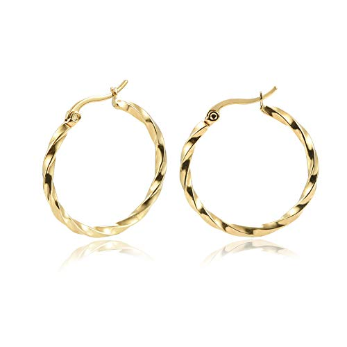 Yumay 9ct Yellow Gold Hoop Earrings for Women,30MM Hand-Twist Earrings for Girls.