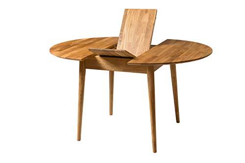 Nordic Story Esstisch Escandi 3, ausziehbar, rund, 100 - 130 cm, Massivholz, Eiche, ideal für Küche, Wohnzimmer, Terrasse, Möbel, Design Nordic Color (Eiche Natur)