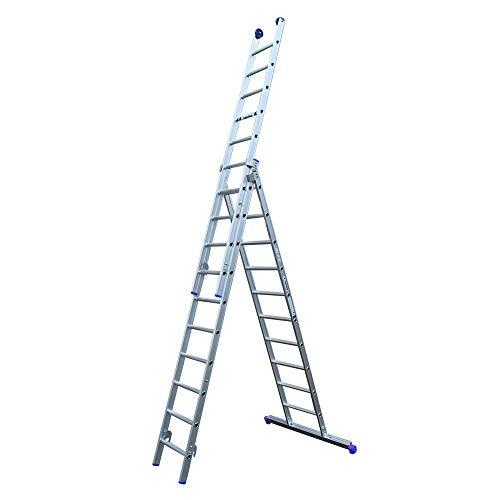 Alumexx Ladder 3-Delig - Schuif - Ladder - Reform - Ladder - Aluminium - Ladder - 3x10 Sporen - 6.75 m Lang (Uitgeschoven) - Hoogwaardig Aluminium