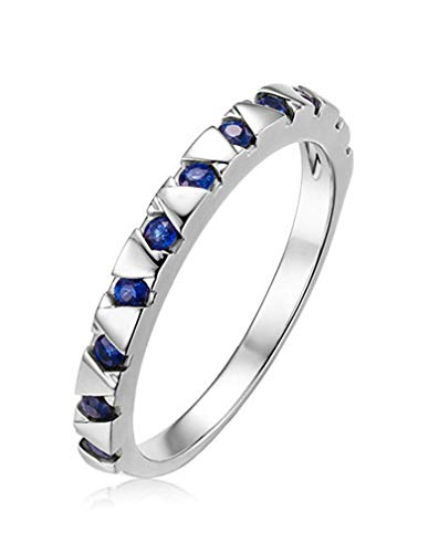 Rubyia Womens Engagement Rings White Gold 18 carat 0.31ct Blue Sapphire Round with Triangle Size M½